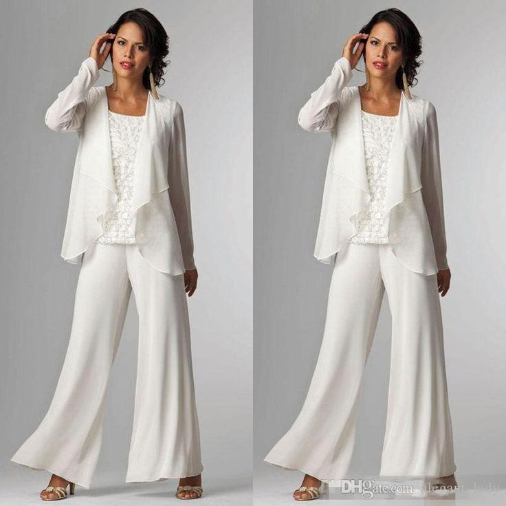 White Chiffon Mother Of Bride Groom Pant Suit For Wedding Long Sleeves Plus Size Formal Women Evening Occasion Gown Custom Made Cheap Overskirt Evening Dress Mother of the Bride Pant Suit Occasion Prom Dress Online with $125.72/Piece on Alegant_lady's Store | DHgate.com