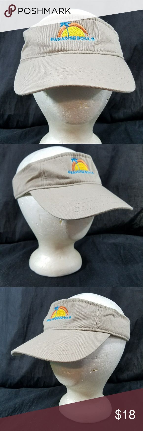 Paradise Bowls Hat Adjustable Golf Visor Cap Palm trees and sunrise. Preowned hat Good condition  Size is Adjustable unbranded Accessories Hats