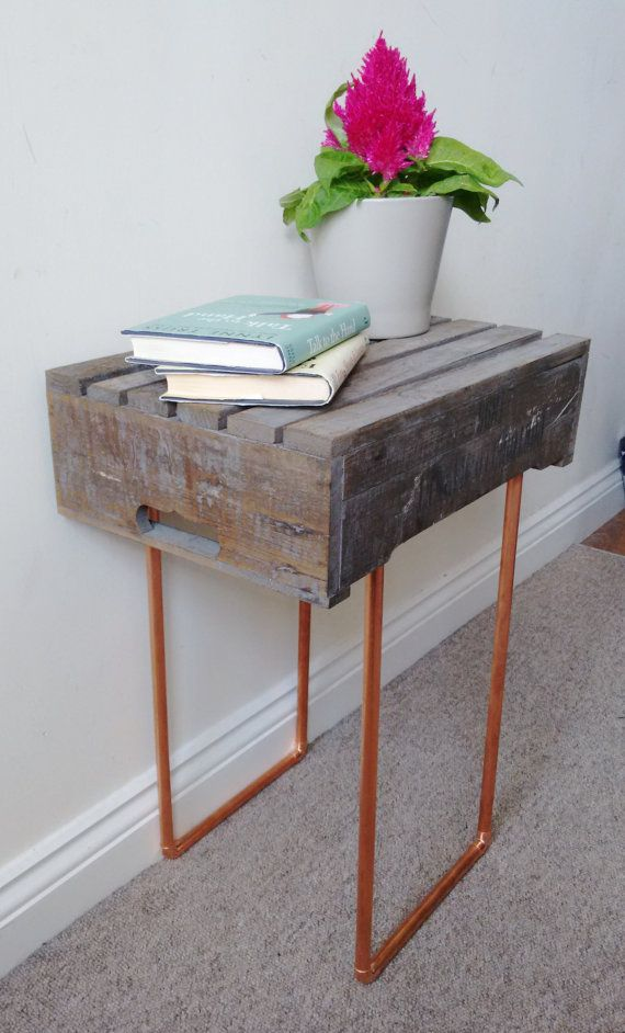 SOLD* Handmade Bedside Table // Rustic Apple Crate Table // Copper Legged Coffee Table
