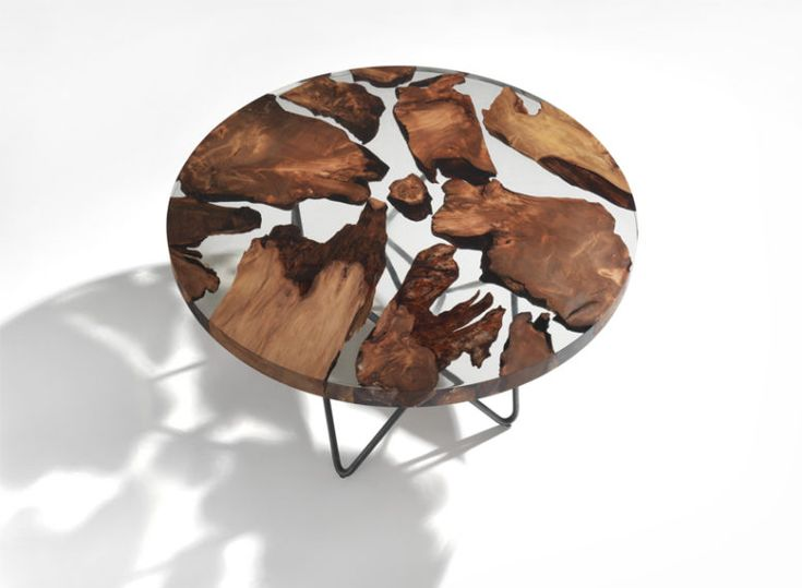 Earth Table With 50,000 Year Old Wood Floating In Resin