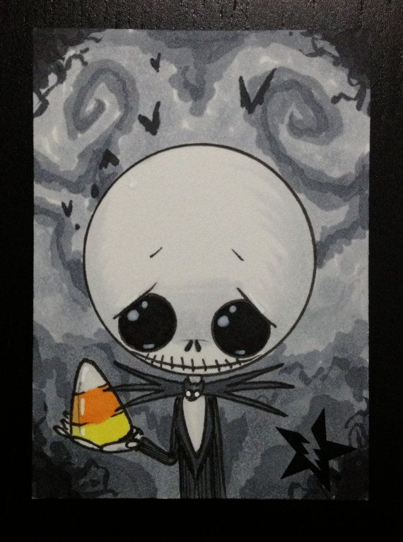 Sugar Fueled Jack Skellington Nightmare Before Christmas lowbrow creepy cute big eye ACEO mini print