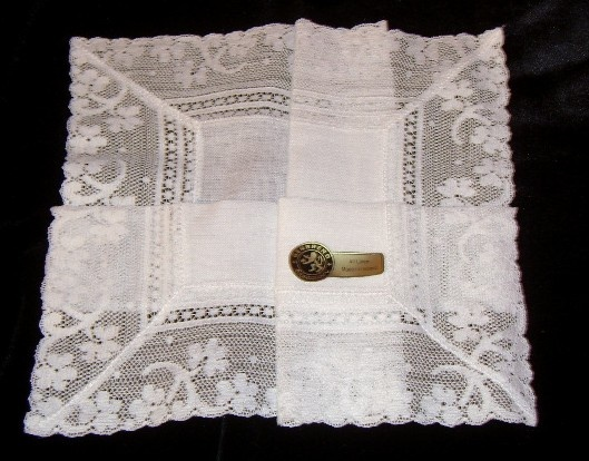 Irish Linen Shamrock Lace All White Wedding Handkerchief Made In Ireland