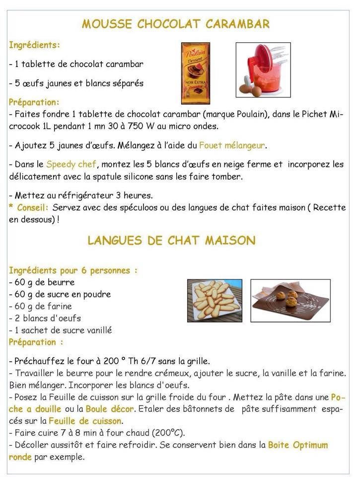 Mousse chocolat carambar - Langue de chat maison - Tupperware