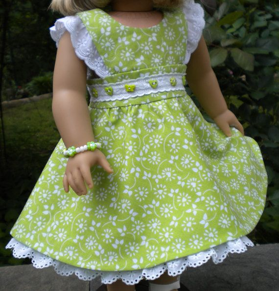 Lime green sundress for 18 dolls like American by mydollyscloset1
