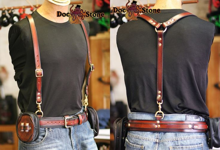 Leather suspenders and belt by Doc Stone Studios