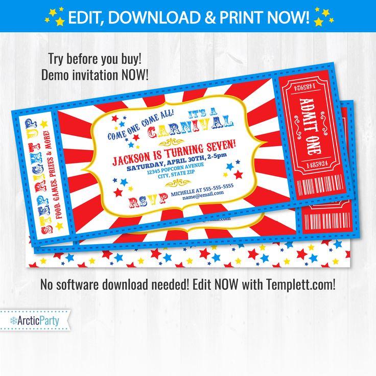 Best 25 Carnival birthday invitations ideas – Carnival Ticket Birthday Invitations