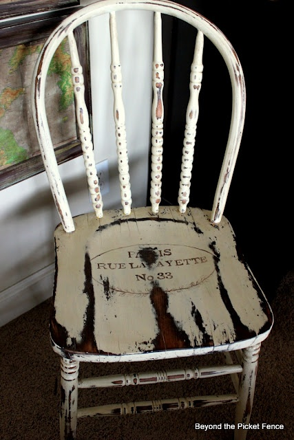 5 dollar old chair re-done to look... OLD!
