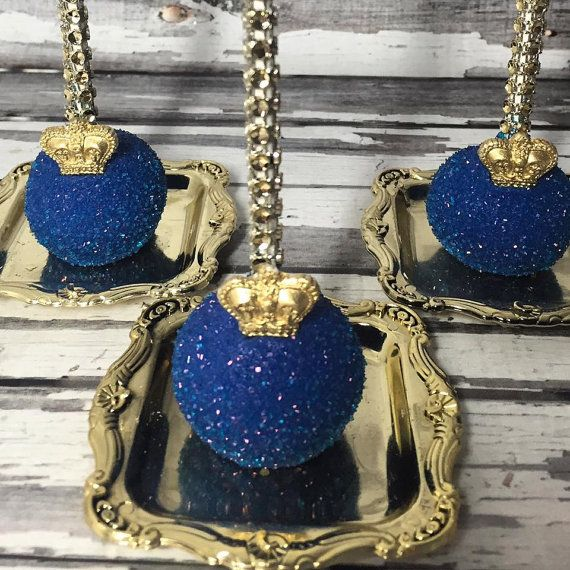 Little Prince Inspired First Birthday Baby Shower Favors or Sweets Table Treats!! Royal blue and gold cake pops!