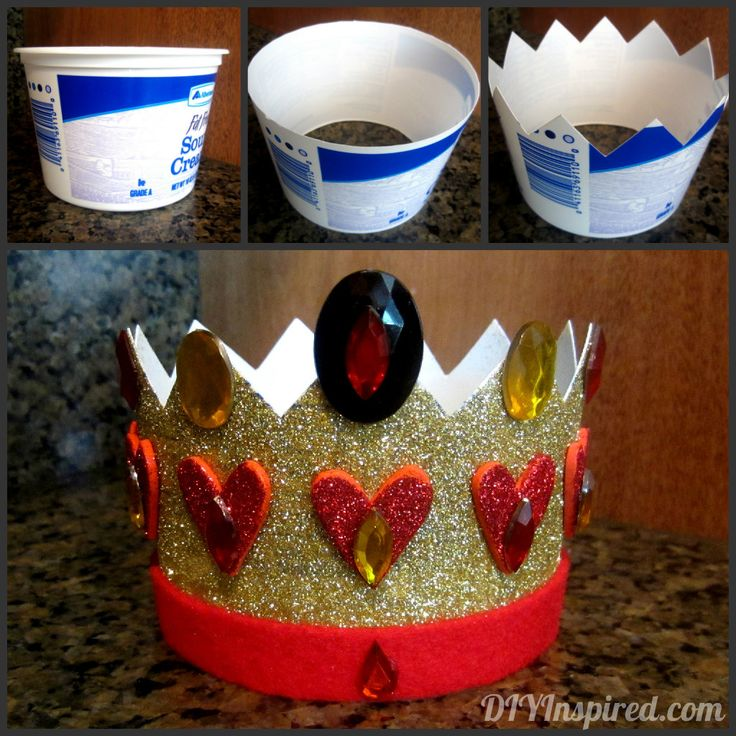 "Recycled Plastic Container Crown ""I decided to make my Queen of Hearts crown out of a recycled plastic container, specifically an old (but clean) sour cream container"""
