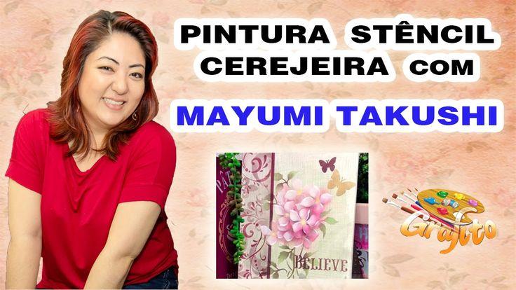 MAYUMI TAKUSHI na GRAFITO ARTE - Pintura com Stêncil Cerejeira