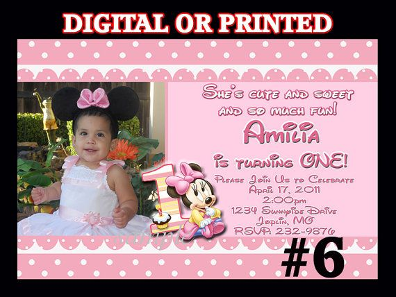 Minnie Mouse First Birthday invitation with by LetsPartyShoppe