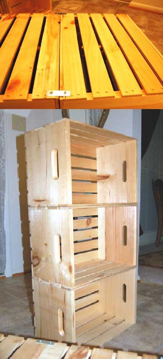 Estanteria reciclada con cajones de verdura de madera : VCTRY's BLOG