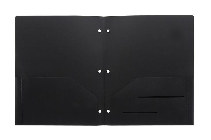 Black Heavy Duty 3 Punch Holes Plastic Folder  #WorkColorfully #Stemsfx