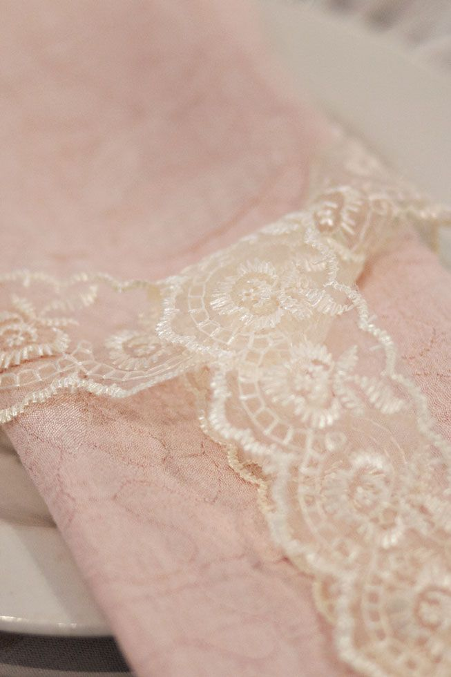 Peach napkin with lace tie #mywork