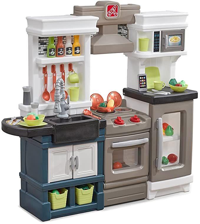 Amazon Com Step2 Modern Metro Kitchen Modern Play Kitchen Toy Accessories Set Kids Kitchen Playset With Real Toy Kitchen Play Kitchen Modern Kitchen Set