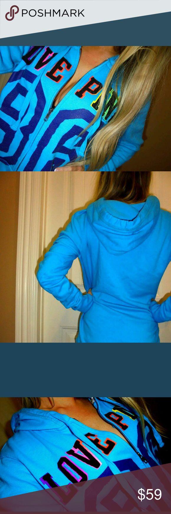 PINK VICTORIA'S SECRET, FULL ZIP HOODIE SMALL OMBRE LETTERING FULL ZIP HOODIE EUC PINK Victoria's Secret Tops Sweatshirts & Hoodies