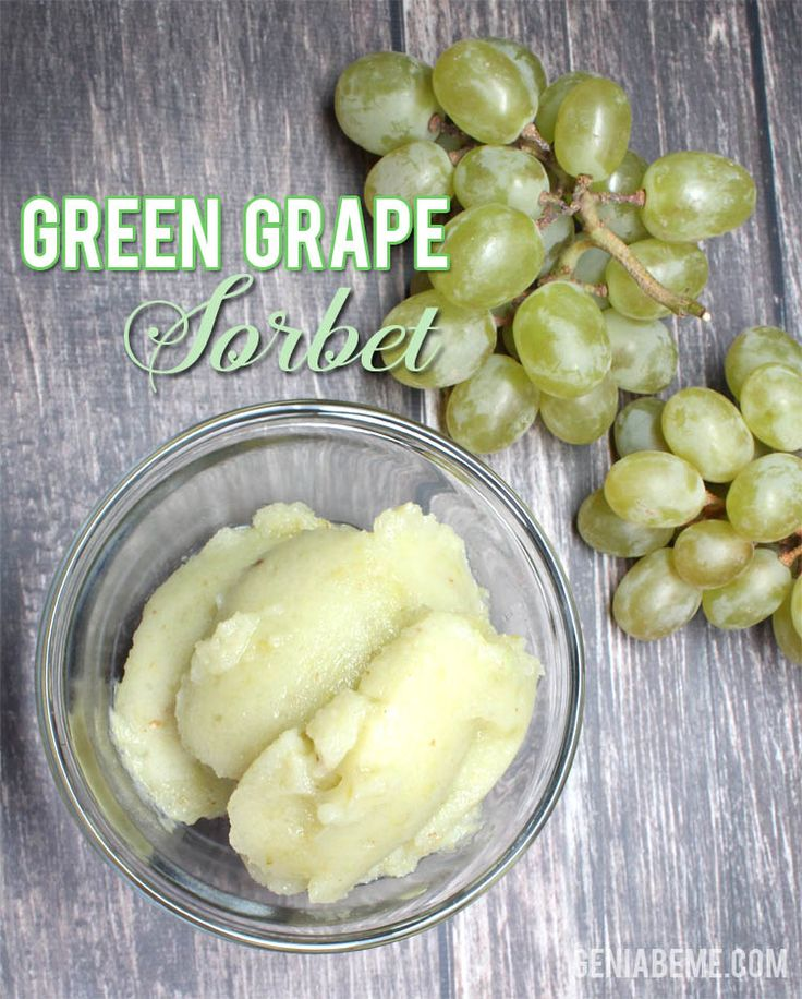 Green Grape Sorbet- A healthy dessert or treat! Blendtec or Vitamix sorbet recipe! via www.geniabeme.com