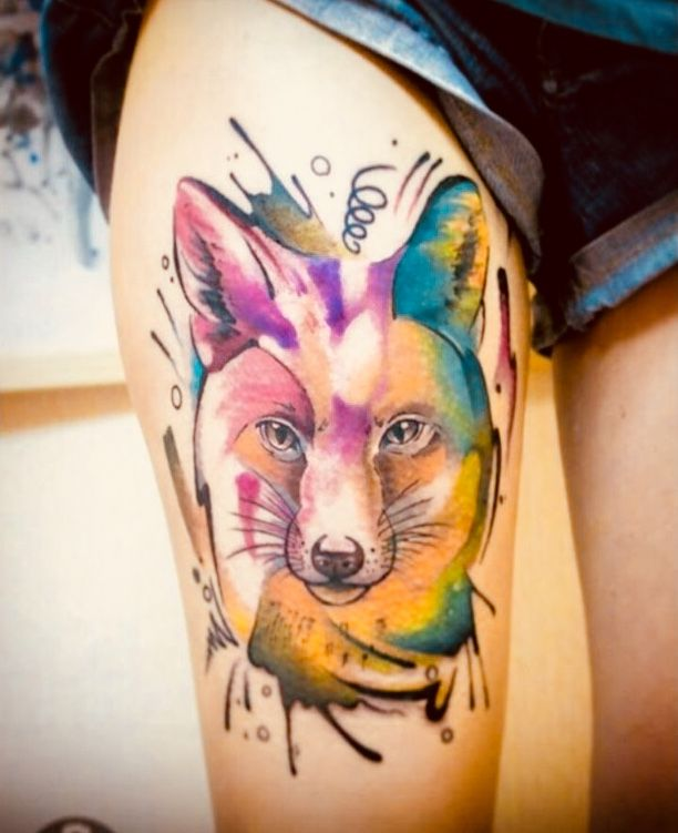 Watercolor Fox Thigh Tattoo With Images Thigh Tattoo Watercolor Fox Animal Tattoo