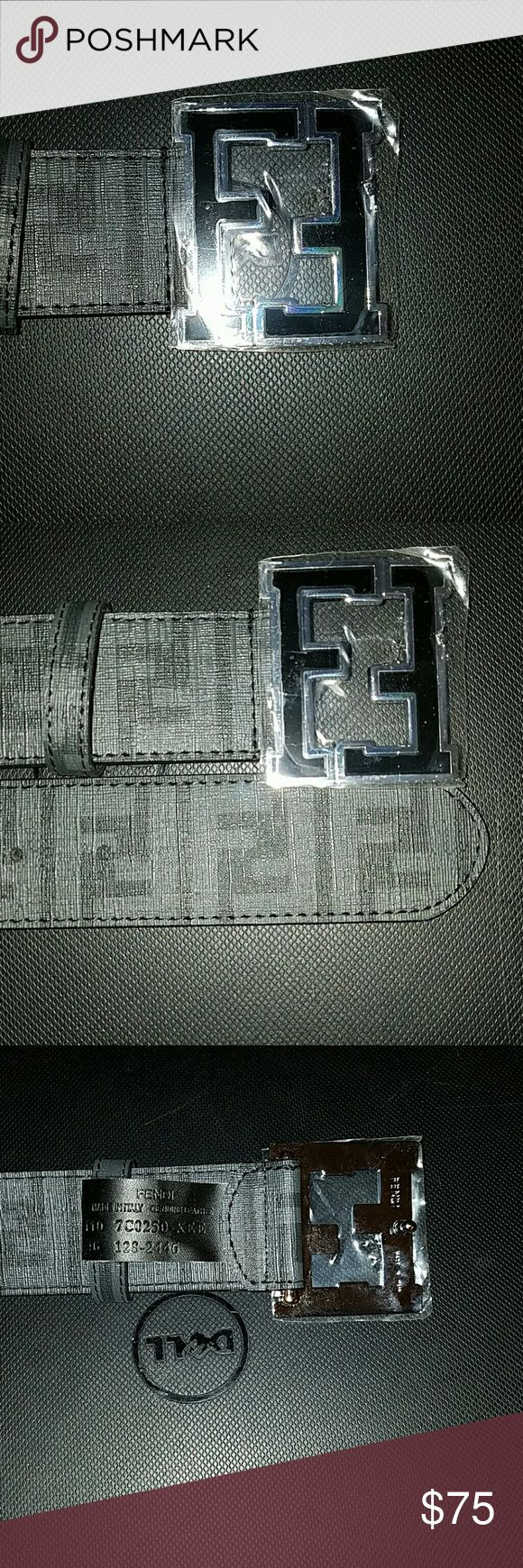Fendi belt Men's Fendi FF College Logo Zucca Leather Belt in Black with Gray FF logo  size 34-36 but can be sized up to a 38 or sized down to a sz 30 Fendi Accessories Belts