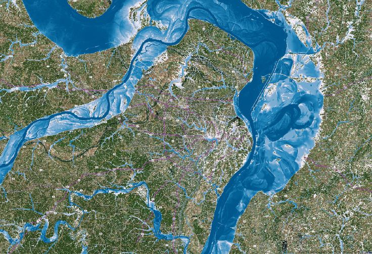 This is a calculated flood map for the city of St. Louis. Water depth goes from deep (dark blue) to shallow (white, light blue). Floodwater can come from the Illinois, Upper Mississippi and Missouri rivers, as well as from heavy local precipitation.