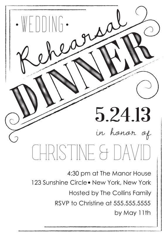 Simple Customizable Wedding Rehearsal Dinner Invitation