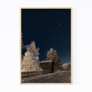 Noir Gallery Winter Night Starry Sky Finland Framed Art Print (11 x 14 – White)
