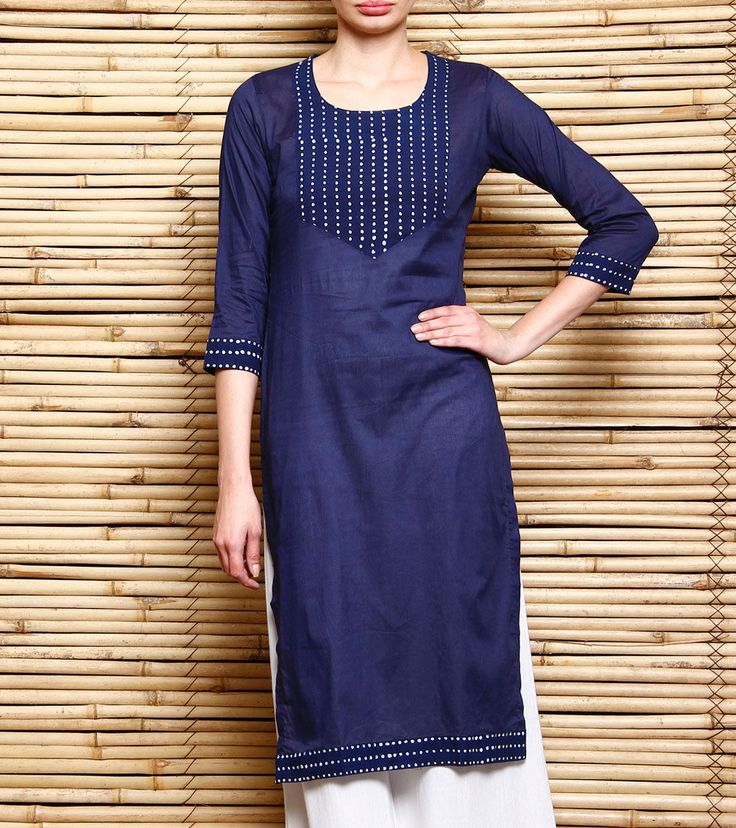 Blue Block Printed Cotton Kurti