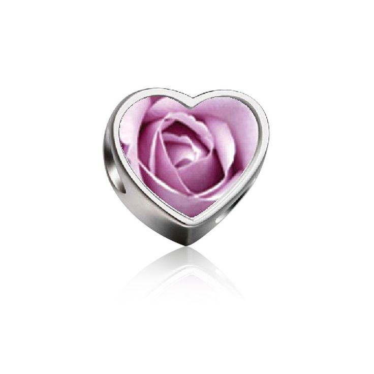 Blooming Rose Heart Photo Charm 925 Sterling Silver Fit All Brands