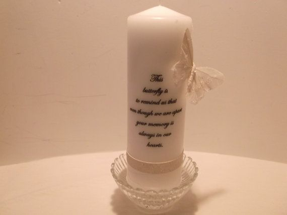 Memory candle with a butterfly for our wedding by jamoe on Etsy