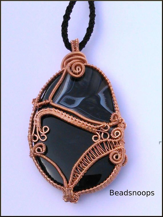 Black sliced agate gemstone wire wrapped weave in copper