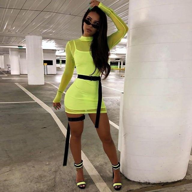 Neon Lime Green Mesh See Trough Long Sleeve Mini Bodycon Dress Sexy Two Piece Set Vestidos Night Club 2