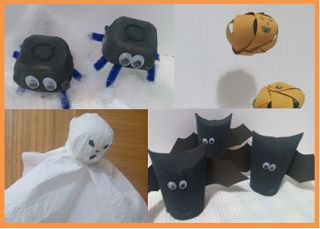 Traquinices e Lápis de Cera: Decorações de Halloween com materiais reciclados