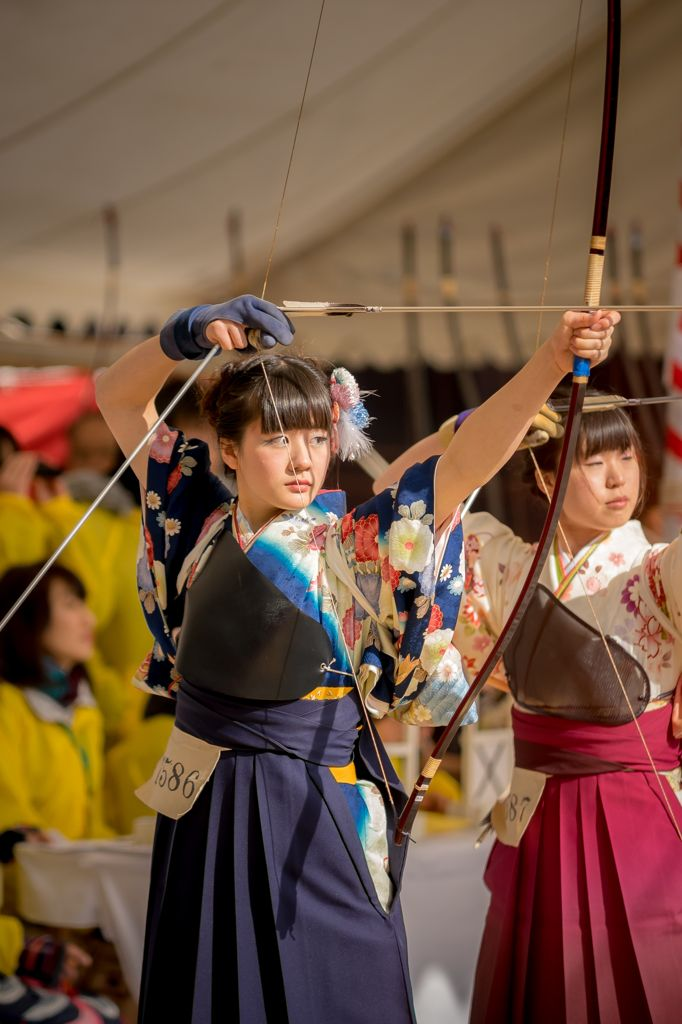 Japanese Long-range archery, Coming of Age Day, Sanjuusangendo (temple) KYOTO,三十三間堂 大的大会