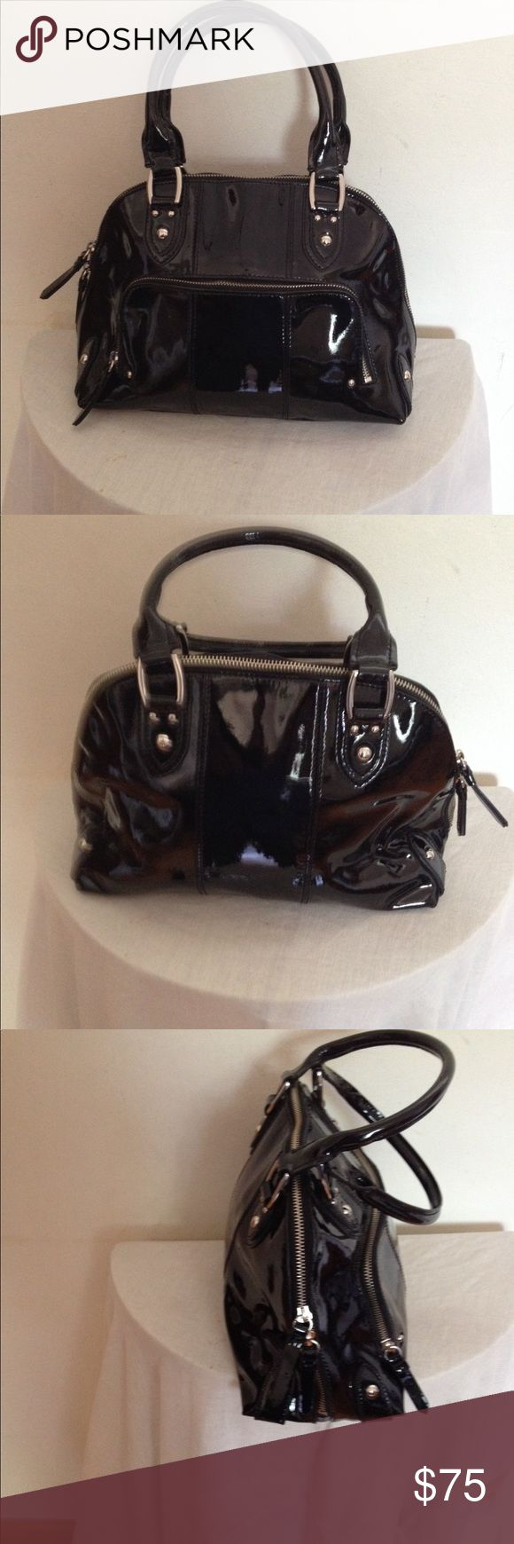 FORTH & TOWNE Black patent leather handbag This is a beautiful black patent leather bag with front zippered pocket cell phone pockets perfect for any occasion Bags Satchels