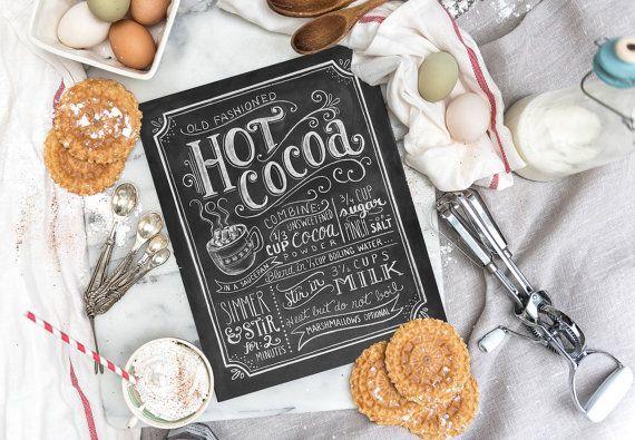 Heißer Kakao Sign  heißer Kakao Bar  Kreide Art  von LilyandVal
