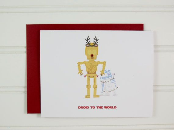 This funny and cute Star Wars C3PO and R2D2 Christmas greeting card is perfect for someone who is a Star Wars fan. This hipster holiday card is also