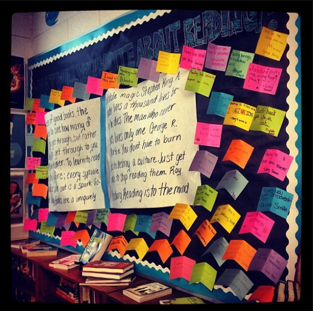 book recommendation bulletin board | Classroom Happenings: Library Orientation and Finished Bulletin Board!
