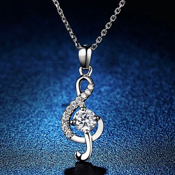 New Pretty 925 Silver Musical Note Style Necklace With Rhinestone