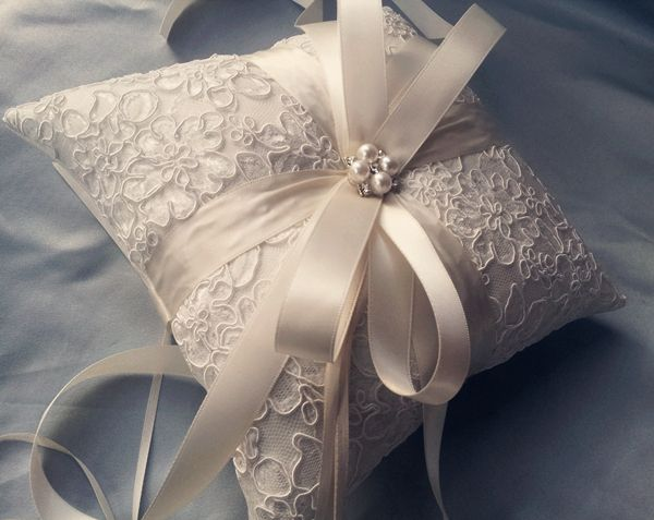 Alencon Lace Ivory Ring Bearer Pillow