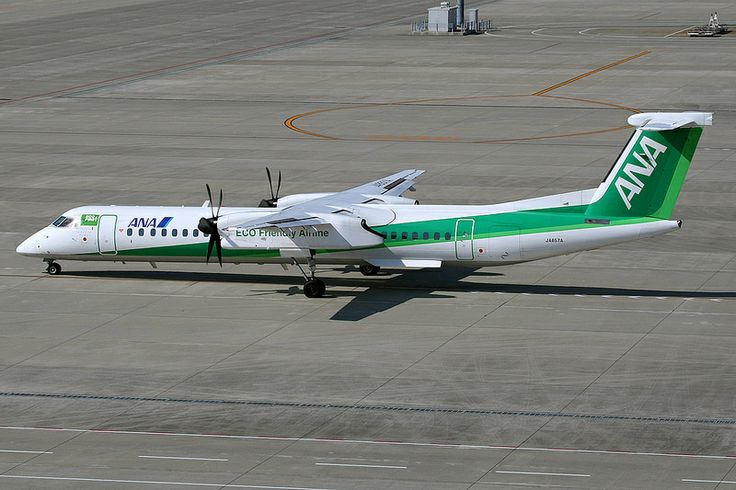 All Nippon Airways (ANA Wings), Bombardier Q400, JA857A, Green eco livery, Nagoya Chubu Airport