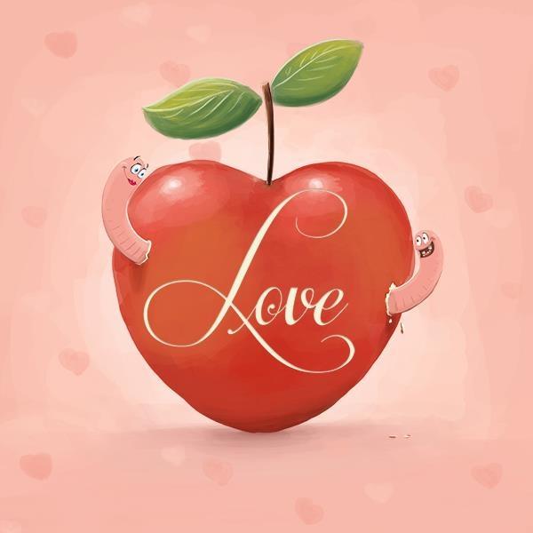 A illustration used for a wish card.  http://www.kaartje2go.nl/liefde-kaarten/love-worms