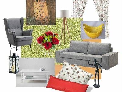 Obývací pokoj ve Skandinávském stylu moodboard