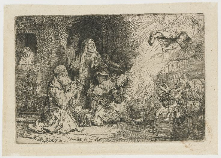 The angel leaves the family of Tobias by Rembrandt Harmensz. van Rijn, 1641. Rijksmuseum, Public Domain