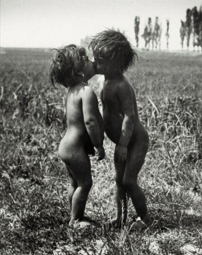 Children Kissing, Esztergom, Hungary by André Kertész, 1917