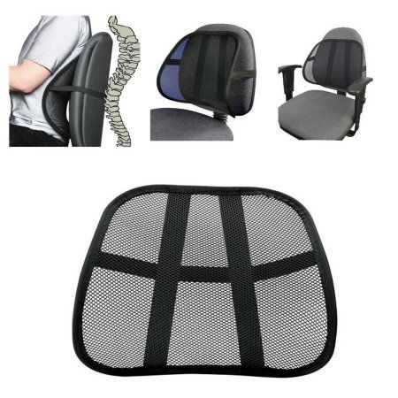 Cool Vent Cushion Mesh Back Lumbar Support New Car Office Chair Truck Seat Black - Walmart.com