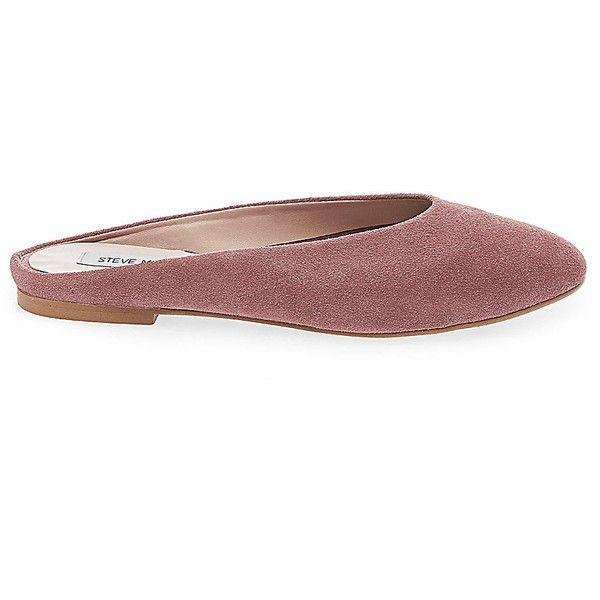 Steve Madden Lisa Flats (£62) ❤ liked on Polyvore featuring shoes, flats, mauve suede, leather ballet flats, flat shoes, steve madden shoes, ballet flat shoes and leather mules