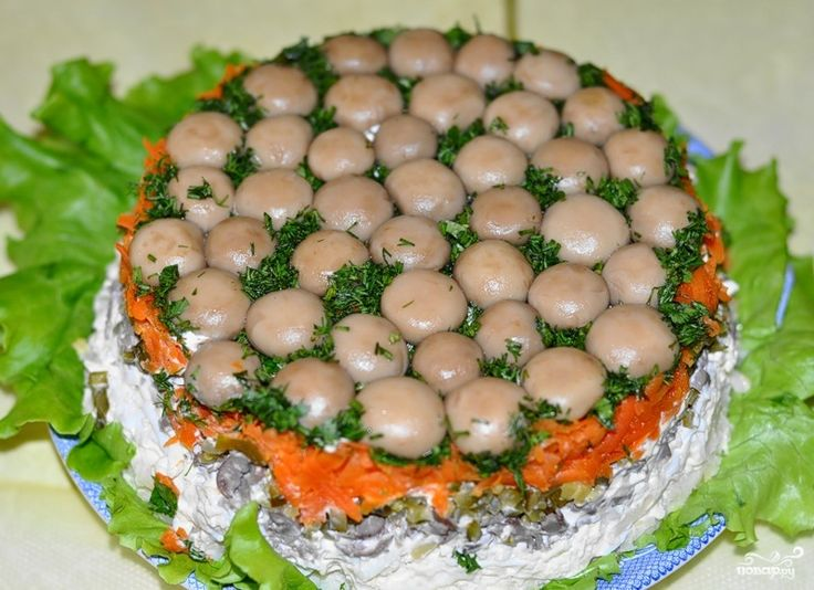 Салат грибная полянка рецепт курица | Идеи для блюд, Еда ...