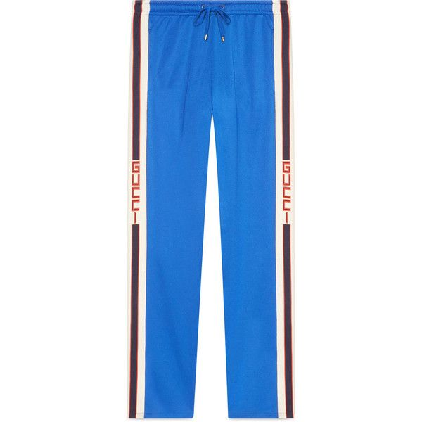 Gucci Technical Jersey Pant ($980) ❤ liked on Polyvore featuring men's fashion, men's clothing, men's activewear, men's activewear pants, cobalt blue and gucci
