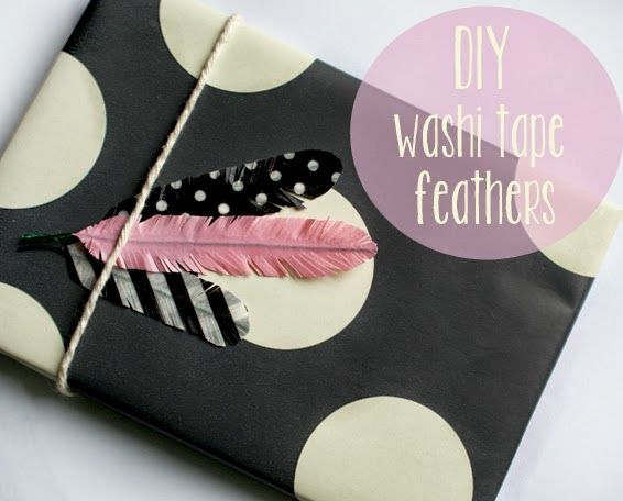 DIY: How To Make Washi Tape Feathers (great gift wrapping idea for christmas!)