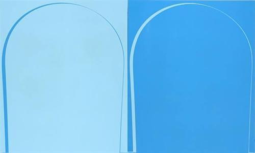 Poured Reversal Painting: Light Blue, Blue - Ian Davenport